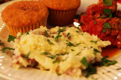 Comfort Food: Italian Meatloaf With Smashed Red Potatoes