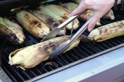 grilled corn in the husks