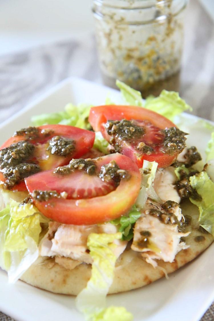 Chicken Pesto Open-Faced Flatbread Sandwiches