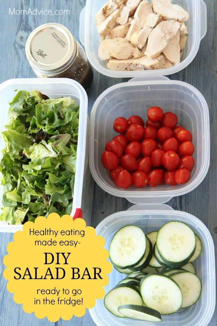 DIY Salad Bar- a healthy dinner ready to go in the fridge