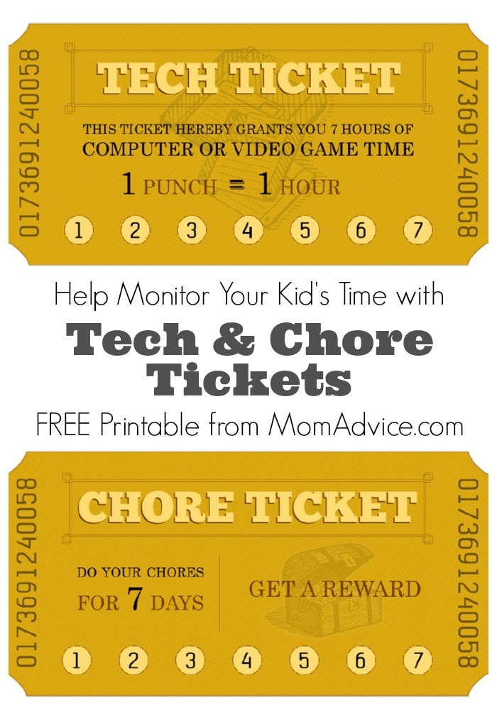 Free Printable Chore Tech Time Tickets MomAdvice