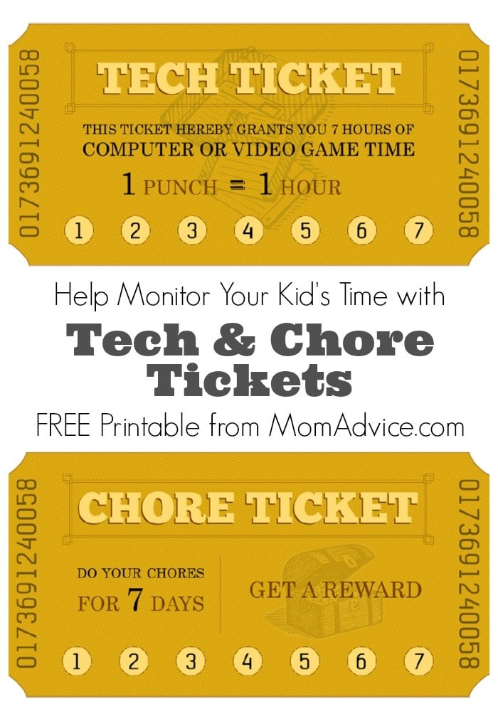Tech Chore Tickets Free Printable  Free Printable Tickets