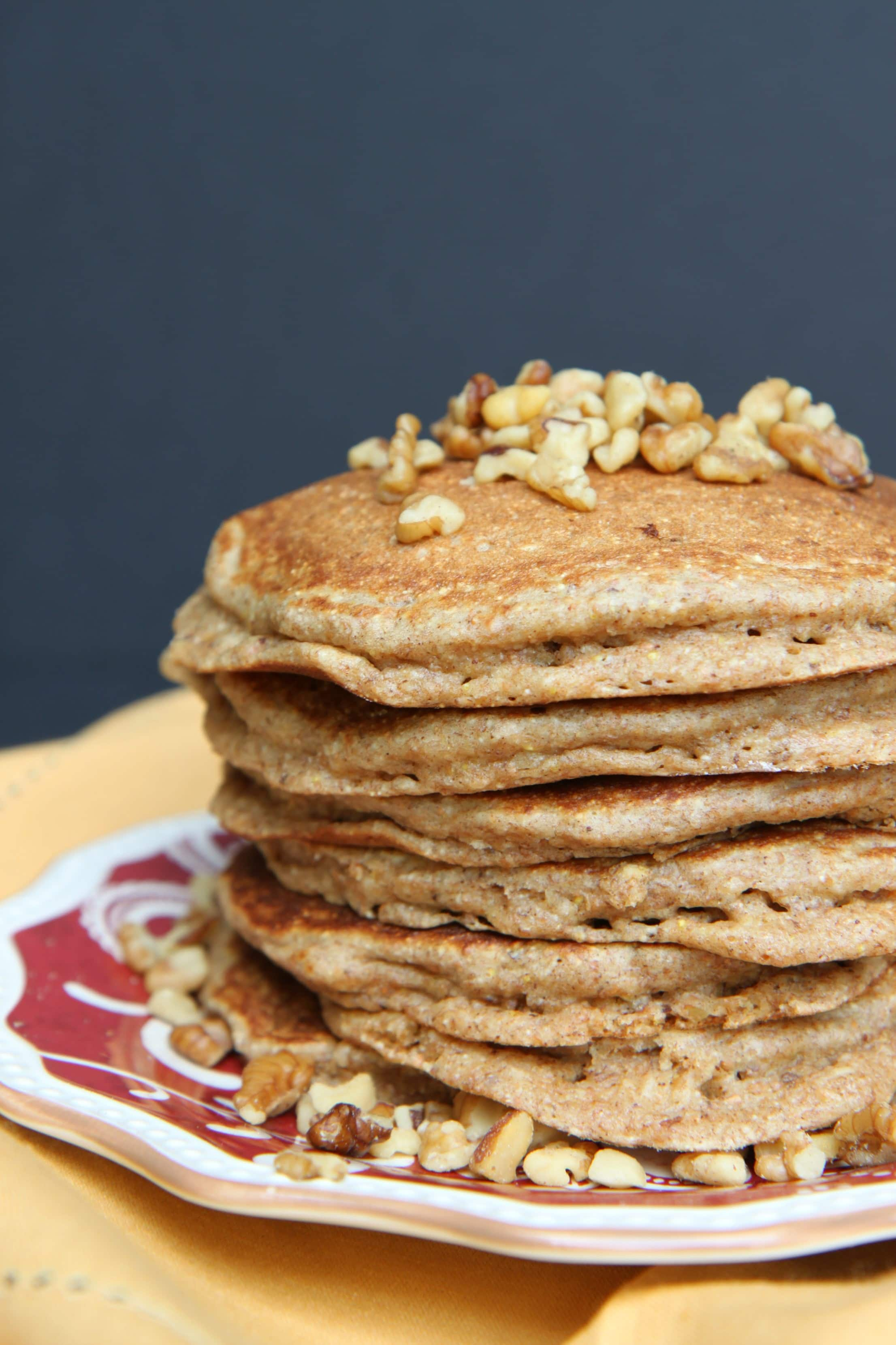 pancakes pecan wheat pancakes with maple bourbon strawberries whole ...