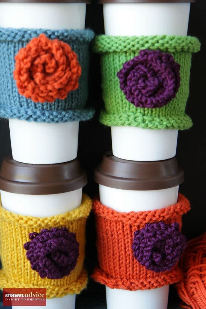 Knitted coffee cozies made a great, stash-busting gift!