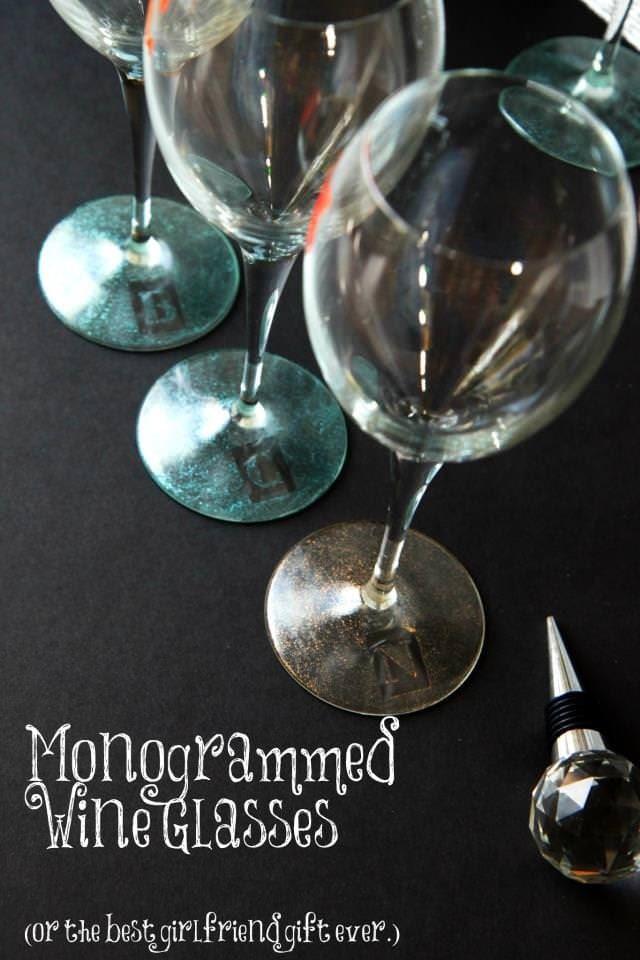 diy monogrammed wine glasses
