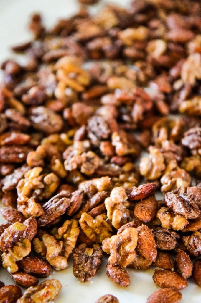 Sugar & Spice Candied Nut Mix Adding Kosher Salt