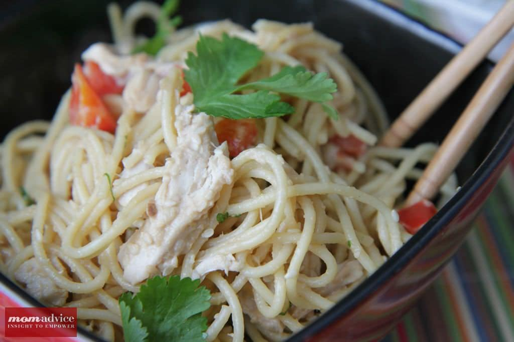 Peanut Ginger Chicken Noodles