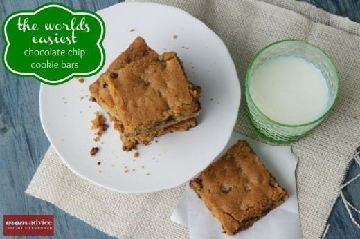 Chocolate chip cookie bars from MomAdvice.com