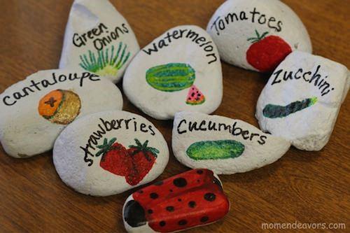 Painted-Garden-Marker-Rocks