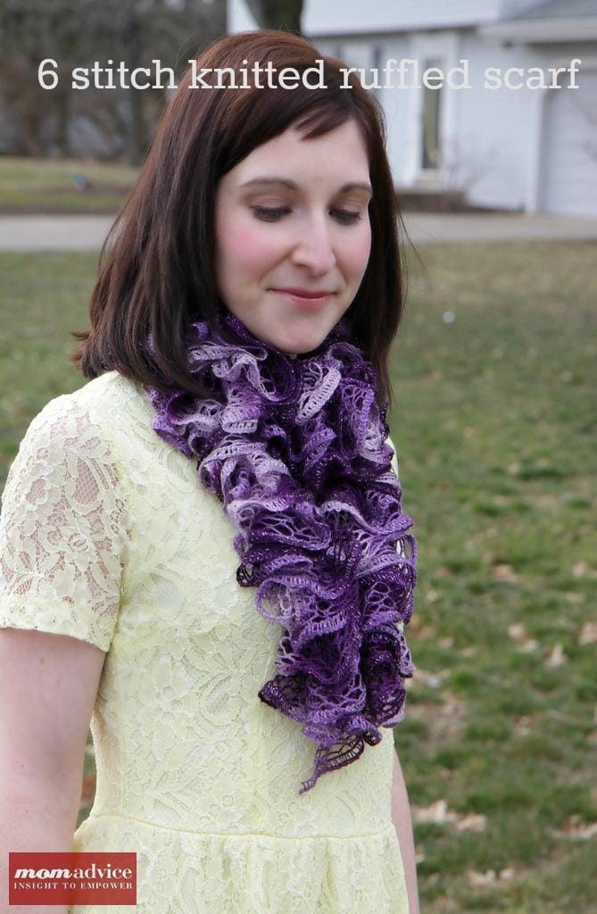 485058c39f1ca Easy Knitted Ruffled Scarf With Sashay Yarn - MomAdvice
