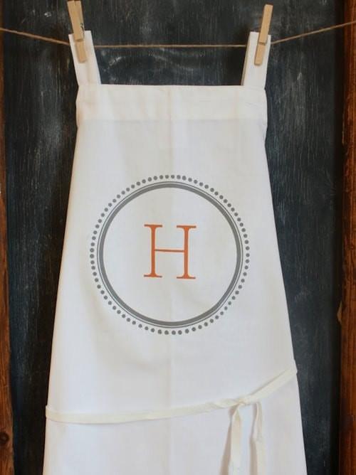 monogrammed apron