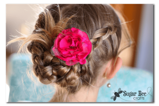 Braided hair with diy flower
