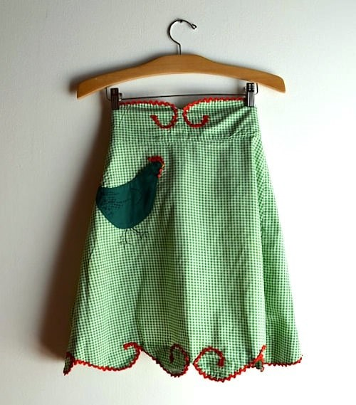 gingham chicken apron