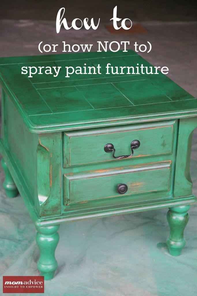 how to spray paint furniture momadvice. Black Bedroom Furniture Sets. Home Design Ideas