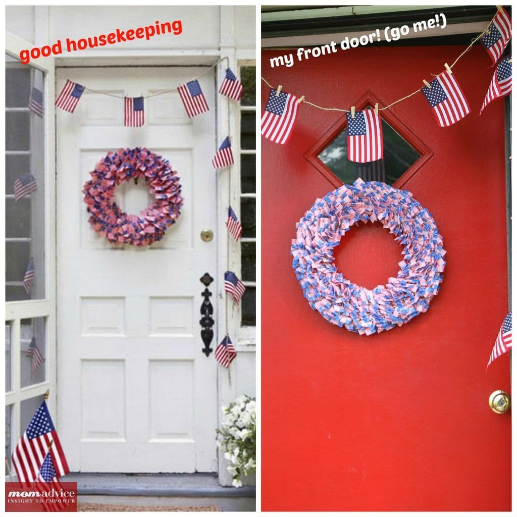 4th of July Cupcake Pick Wreath from MomAdvice.com.