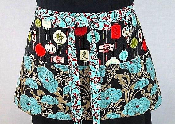 blue pattern half apron