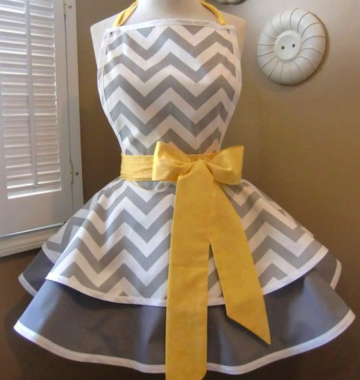 gray chevron apron