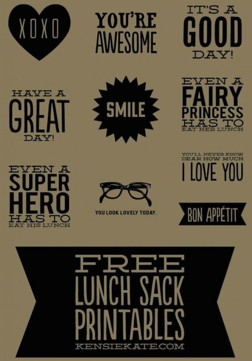 Lunch sack printables