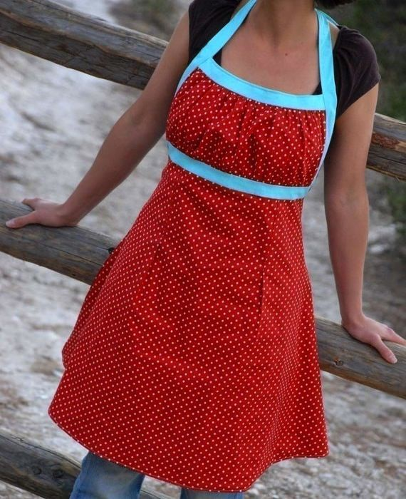 red polka dot apron