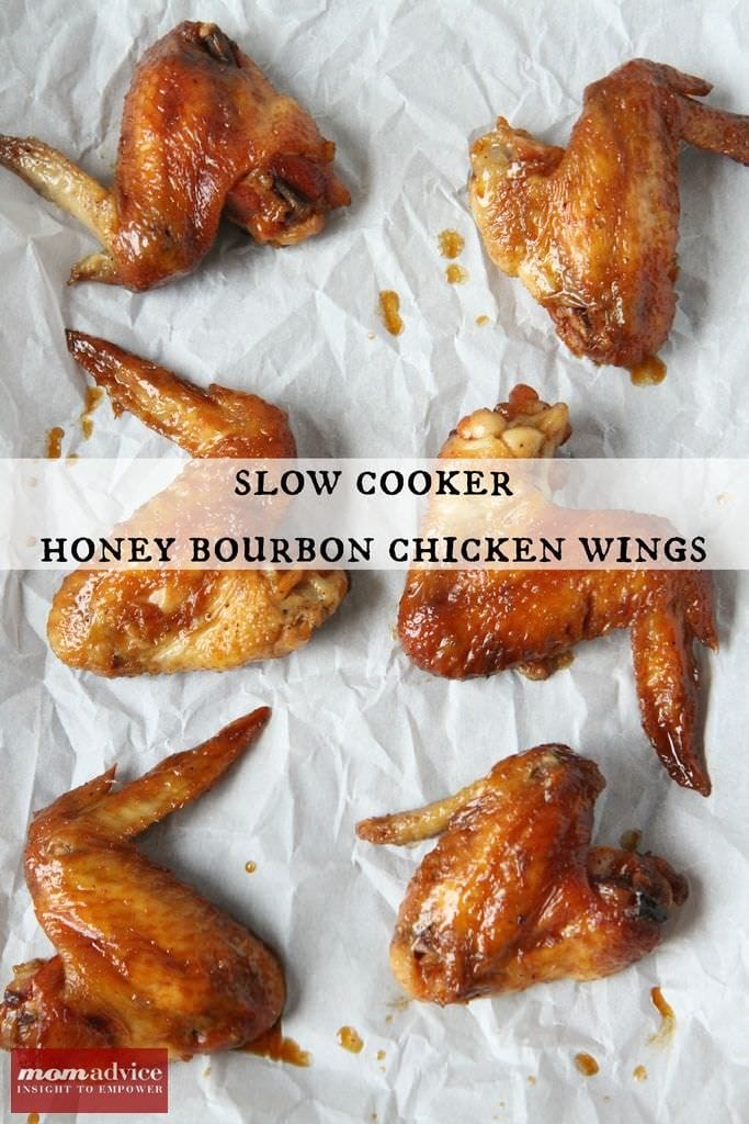 Slow Cooker Honey Bourbon Chicken Wings from MomAdvice.com.