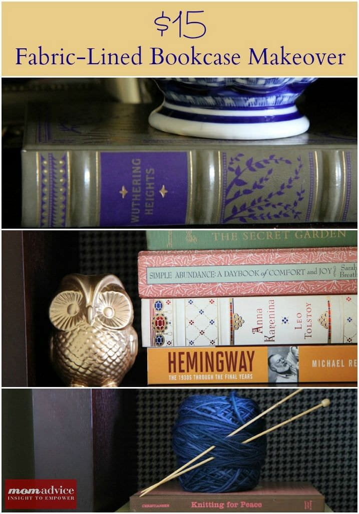 $15 Fabric-Lined Bookcase Makeover