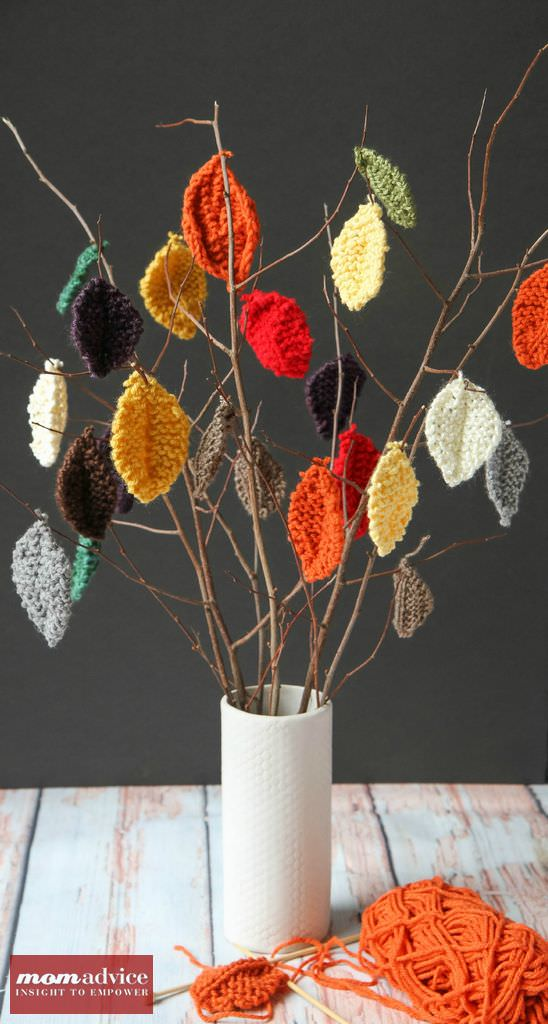 Knitted Leaves Centerpiece
