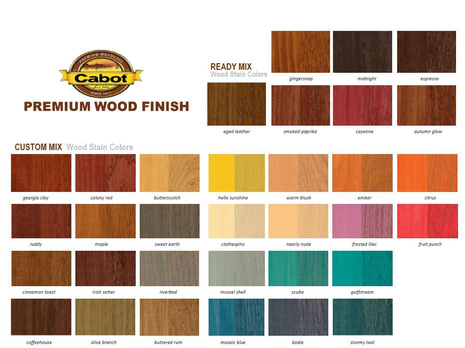 Woodwork colorful wood stain pdf plans for Cabot s exterior stain colours