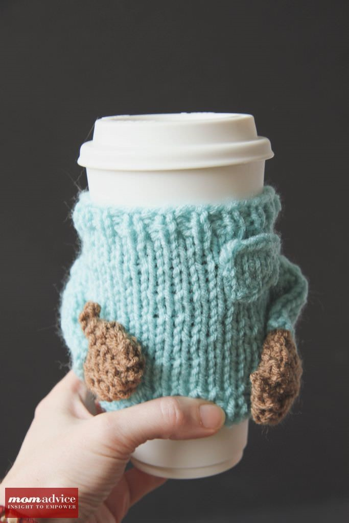 Knitted sweater coffee cozies 9