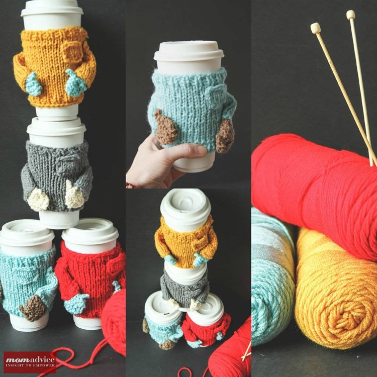 Knitted sweater cozies collage