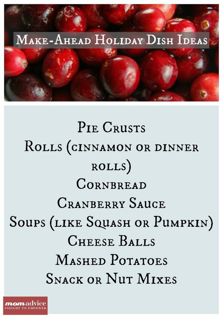 Make-Ahead Holiday Dish Ideas from MomAdvice.com.