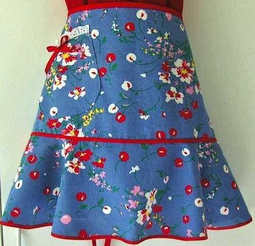 blue cherries apron