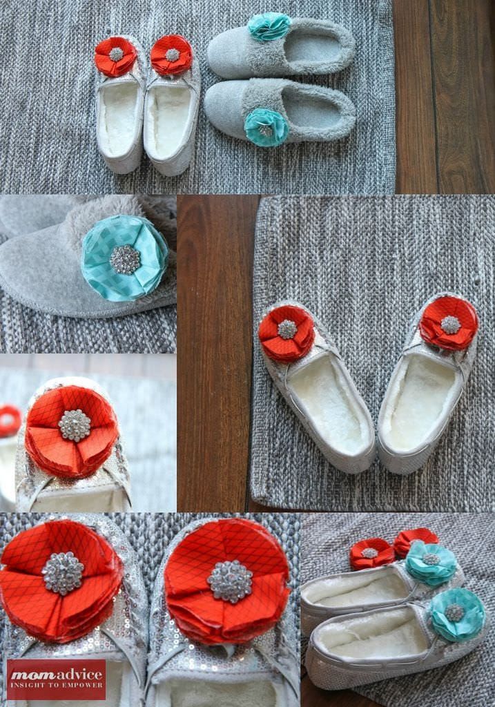 Add cute fabric flowers to slippers to make a personalized gift.