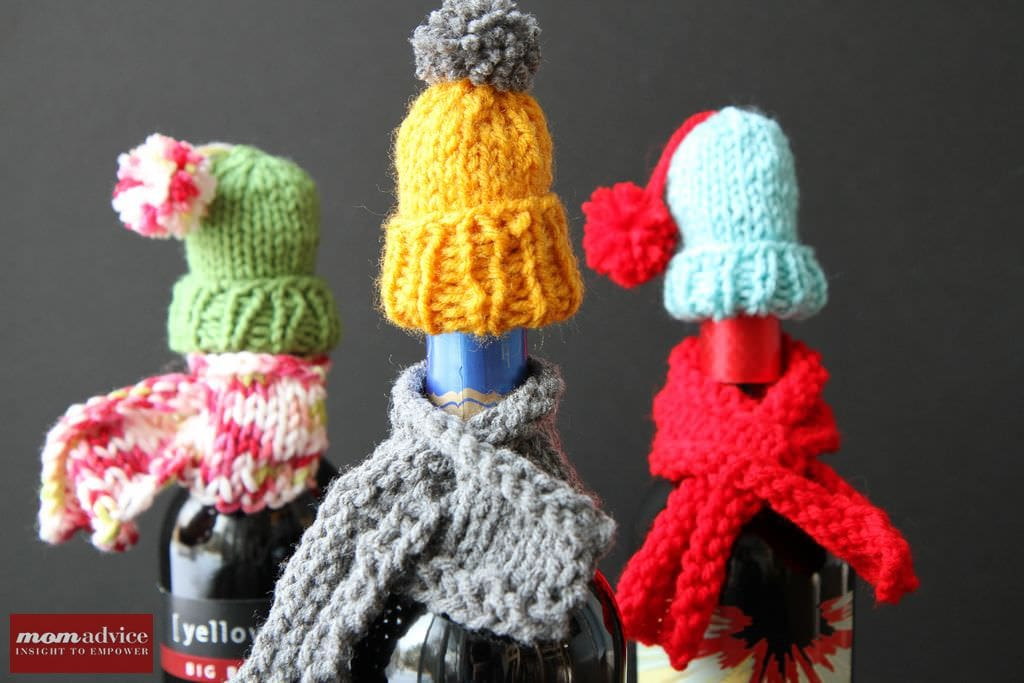 Knitted Wine Bottle Hat and Scarf from MomAdvice.com