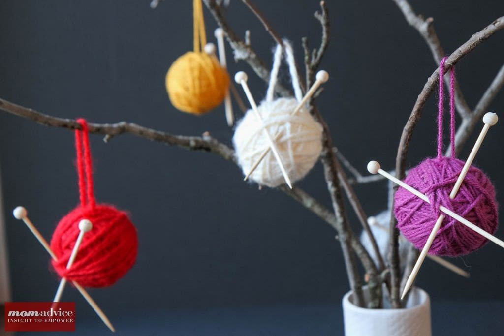 Easy Yarn Ball Ornaments from MomAdvice.com