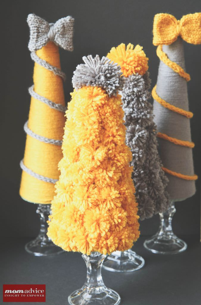 DIY Holiday Yarn Trees from MomAdvice.com.