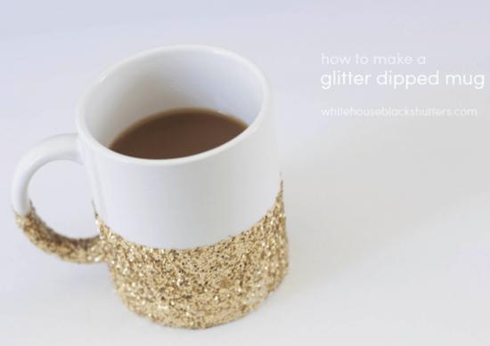 glitter-dipped mug