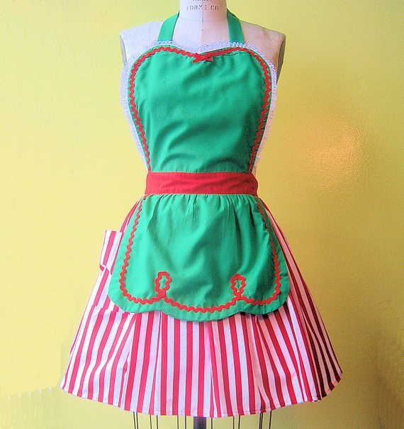 striped xmas apron