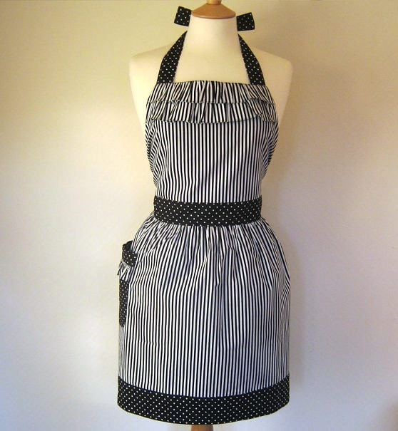 black ruffle apron