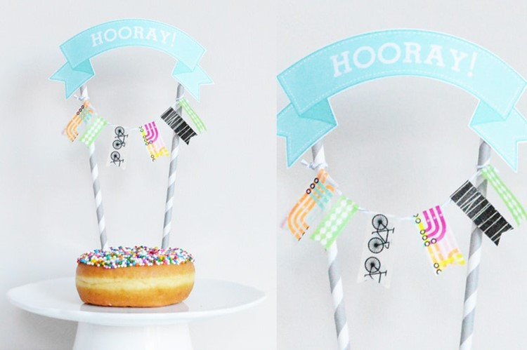 diy paper printable and washi garland dessert topper