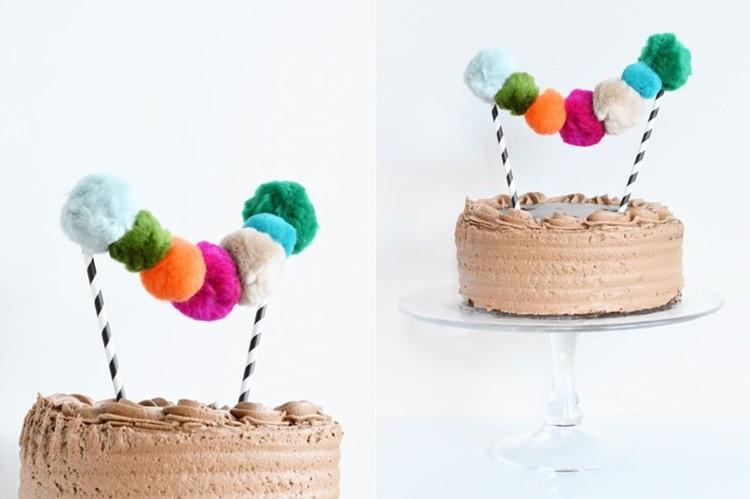 pom pom garland dessert topper
