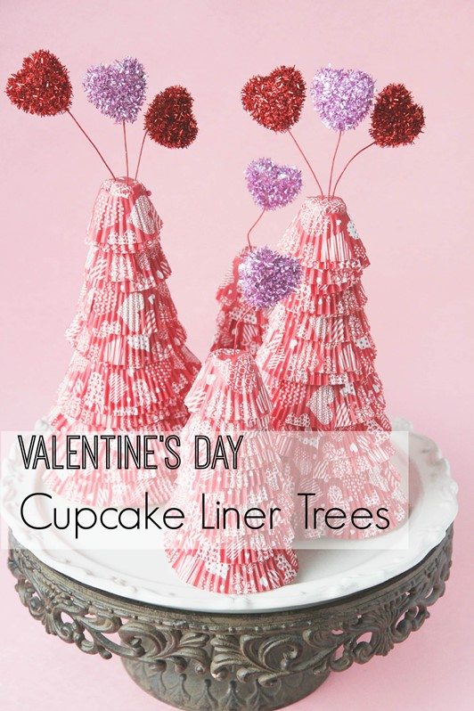 Valentine's Day Cupcake Liner Trees