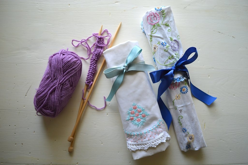 How To Make A Knitting Needle Holder From Vintage Linens