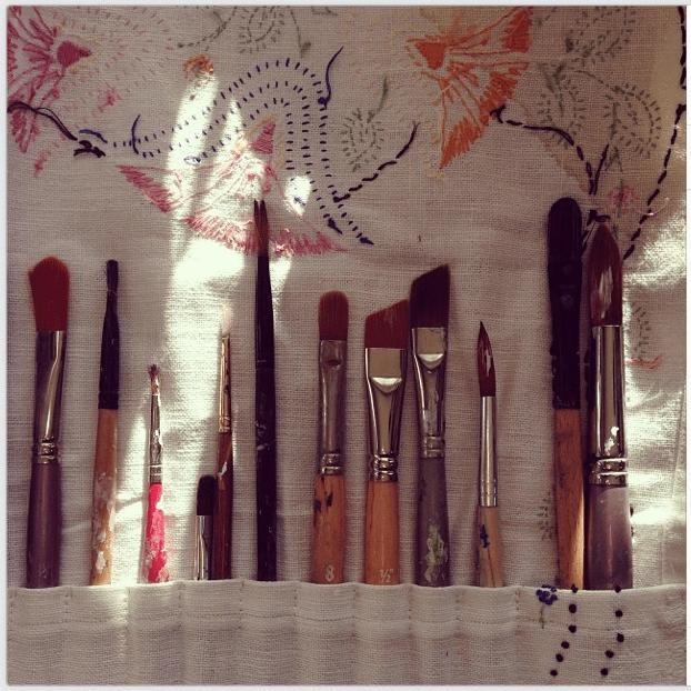 Vintage Linen Paint Brush Holder
