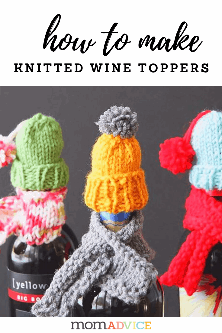 how to make knitted wine hats and scarves