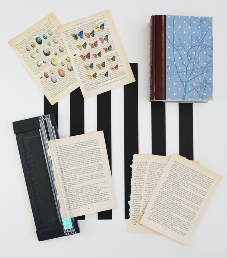 how to DIY vintage book page art