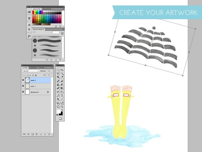 DIY watercolor and digital design
