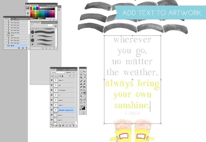 DIY artwork using watercolor and digital design