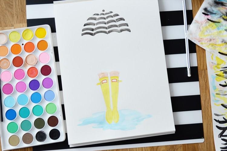 DIY watercolor + digital art print