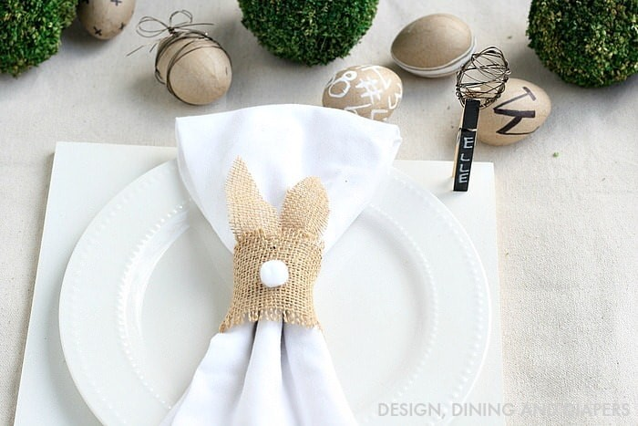 Neutral Easter bunny napkin ring