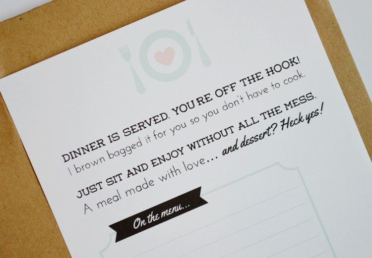 free printable tag for meal gifting
